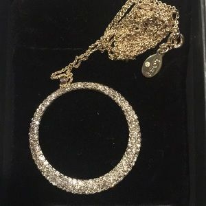 LOFT Long Circle Necklace with Pave